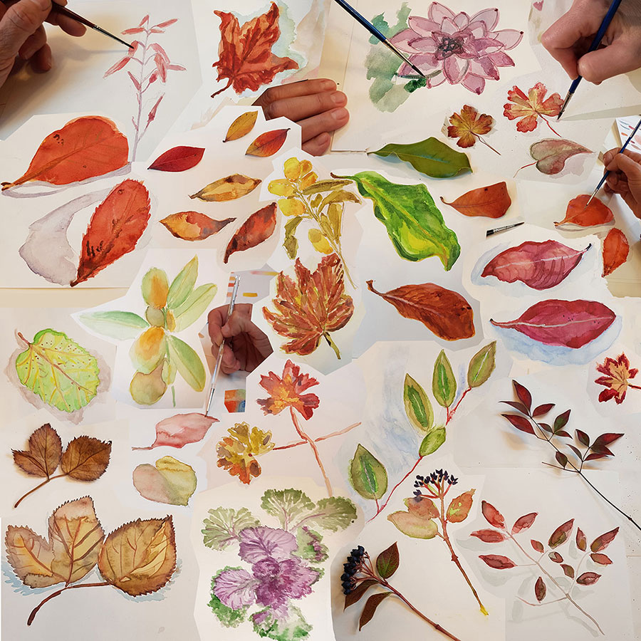 Collage-Course-By-Vered_Leafs-Watercolor